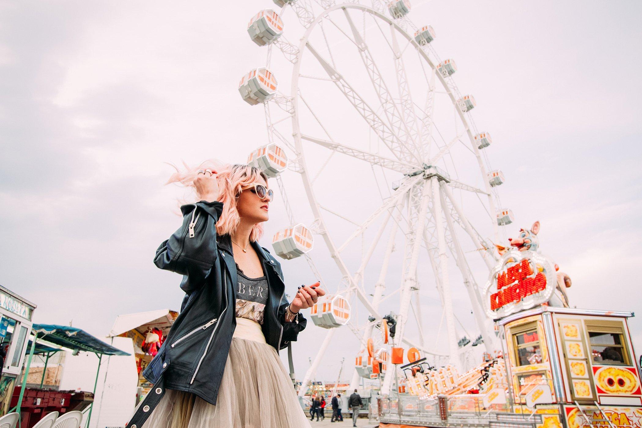 mikuta with pink hair on a fair