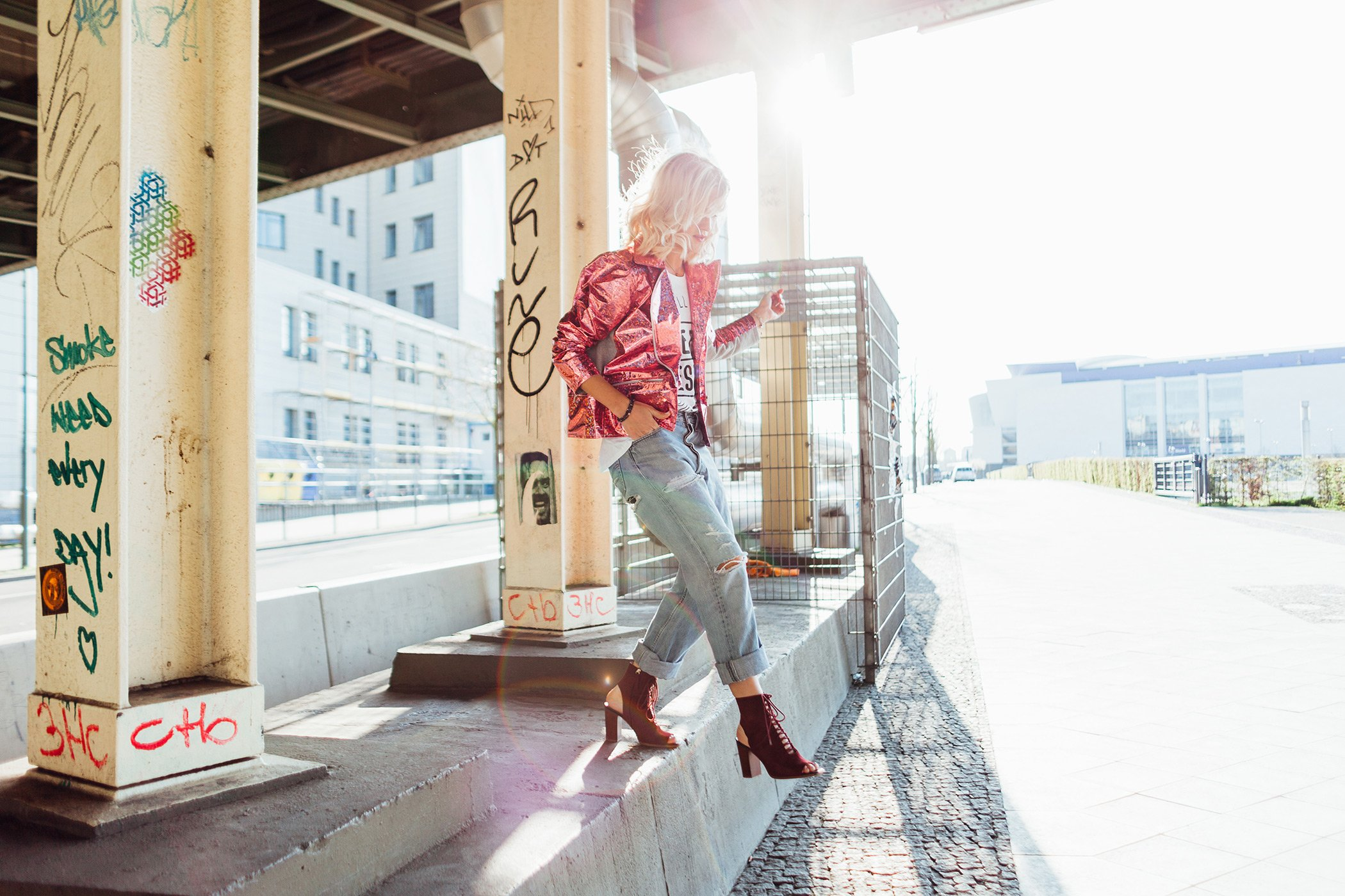 mikutas style with pink glitter biker jacket and boyfriend jeans