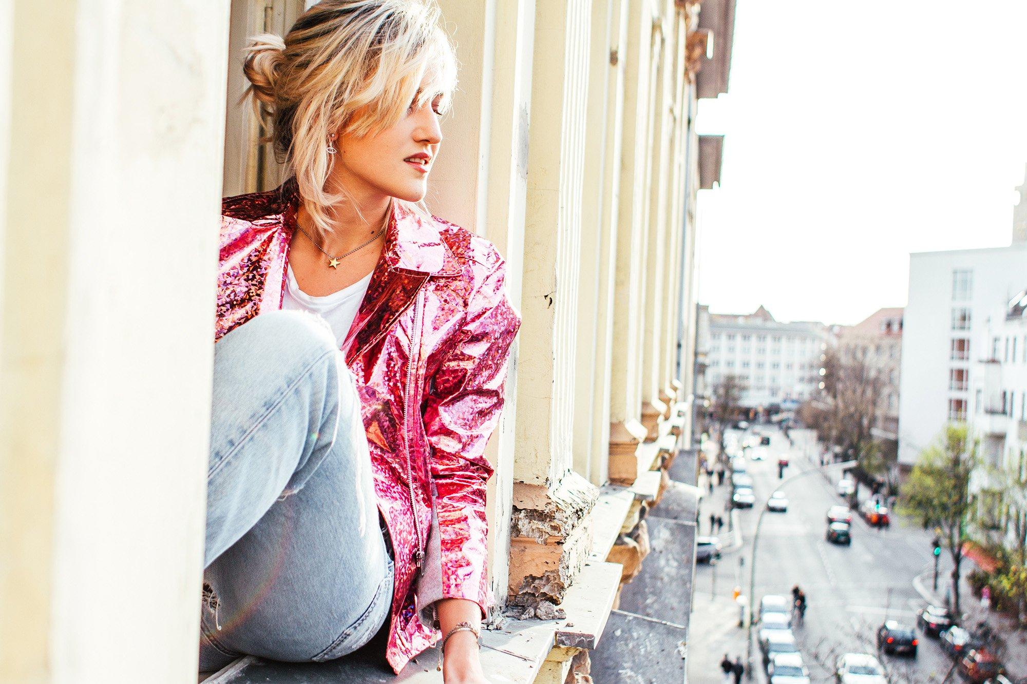 mikutas pink biker jacket