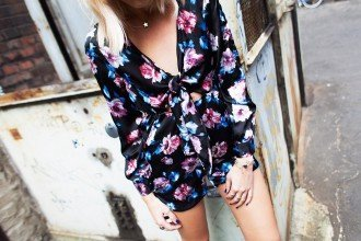 mikuta wearing another floral jumpsuit