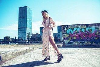 mikuta exploring berlin in a pink slit dress