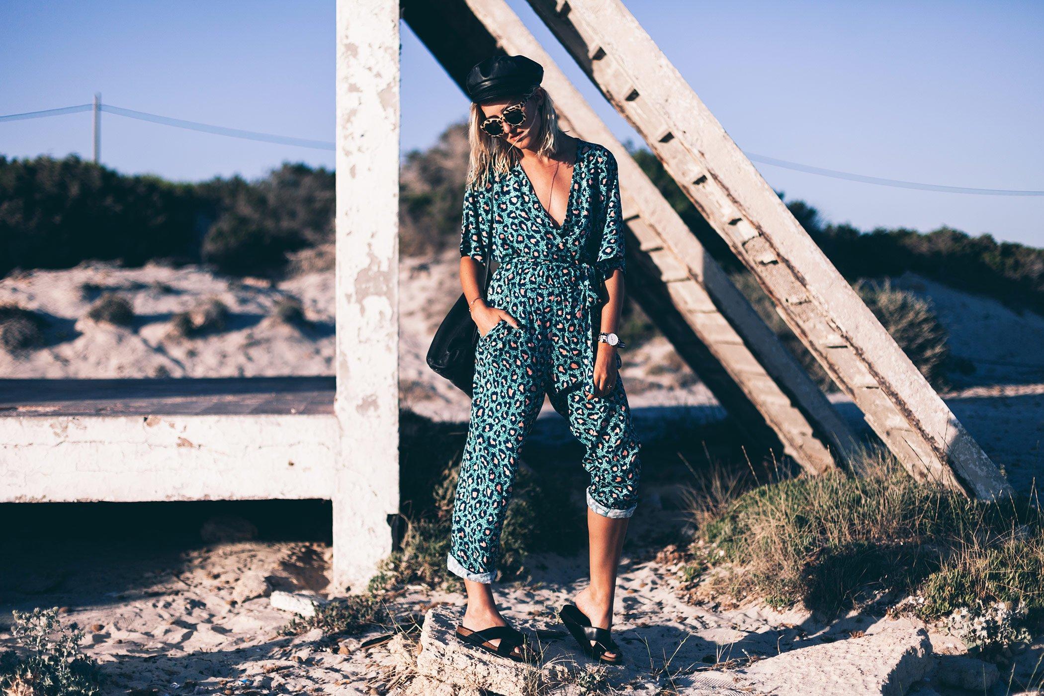 mikuta in a leopard jumpsuit