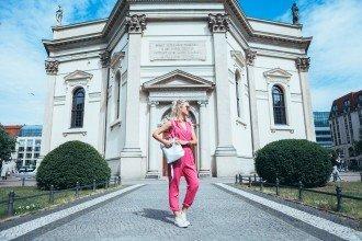 mikuta in pink bright breezy summer street style jumpsuit