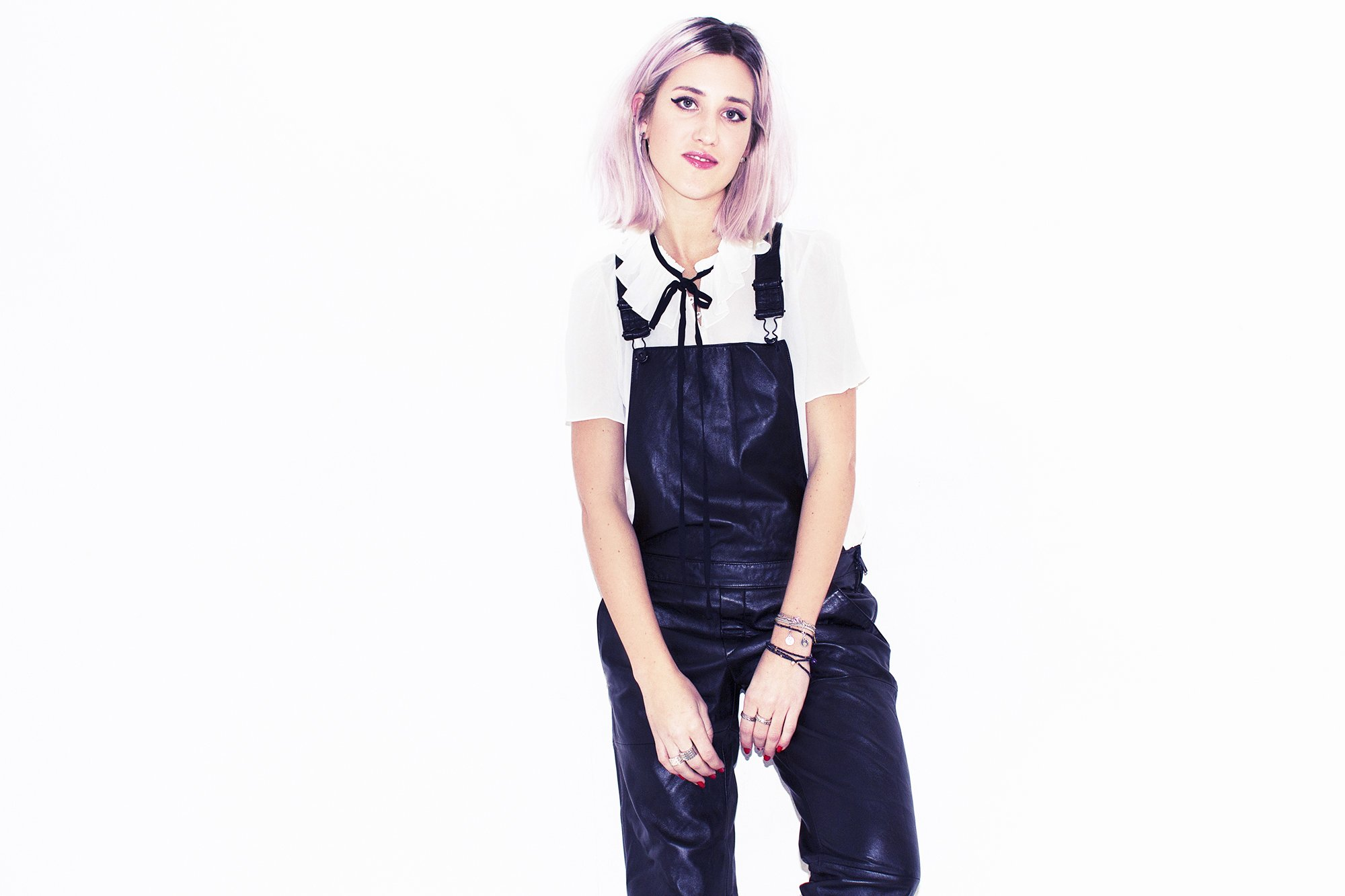 mikuta in dungarees and a white shirt