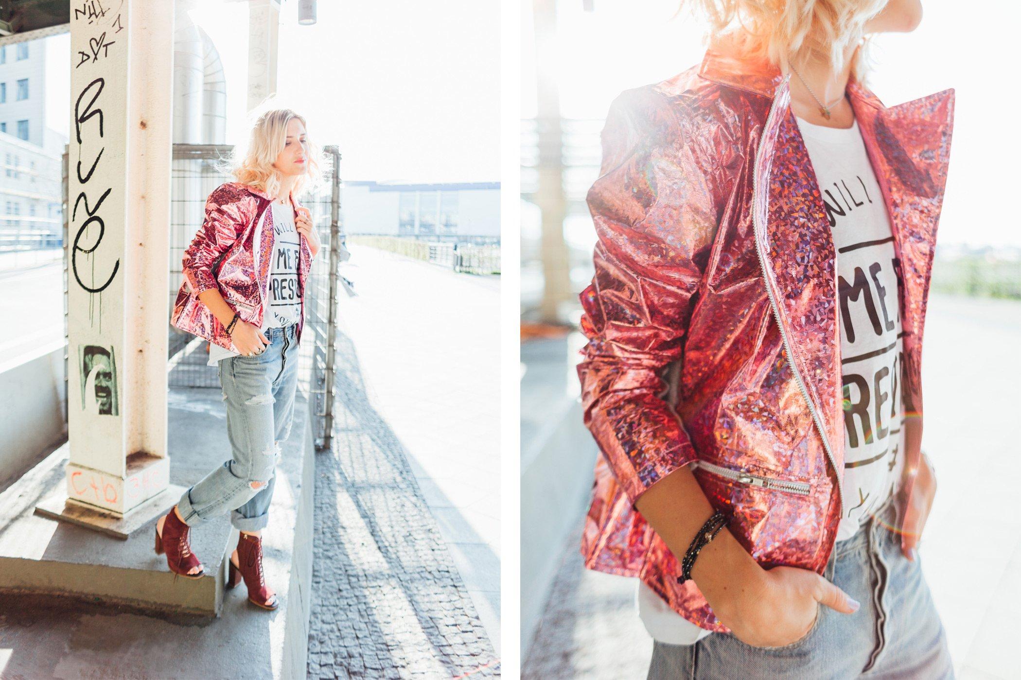 mikutas style with pink glitter biker jacket and boyfriend jeans