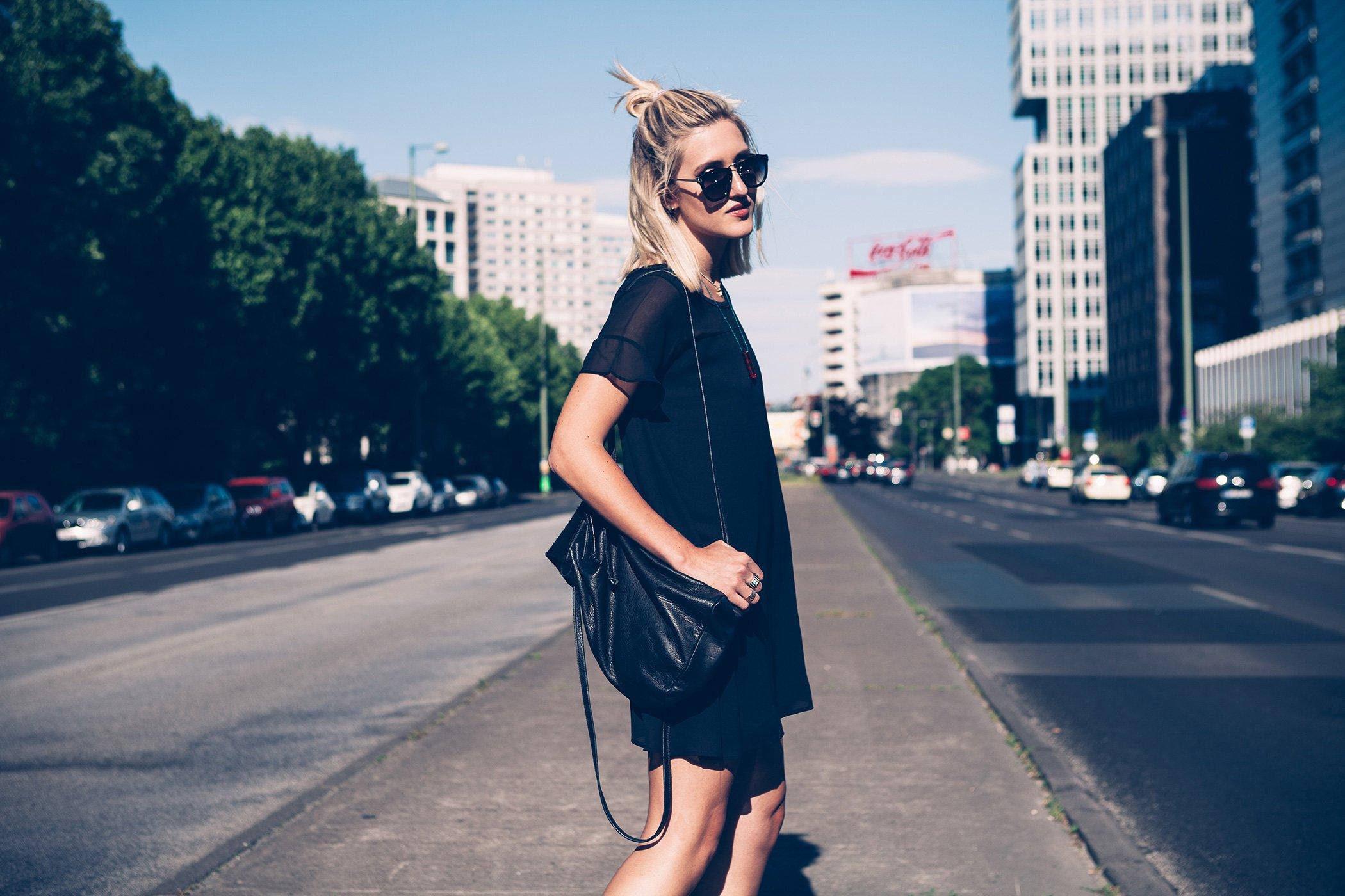 mikuta with a black dress