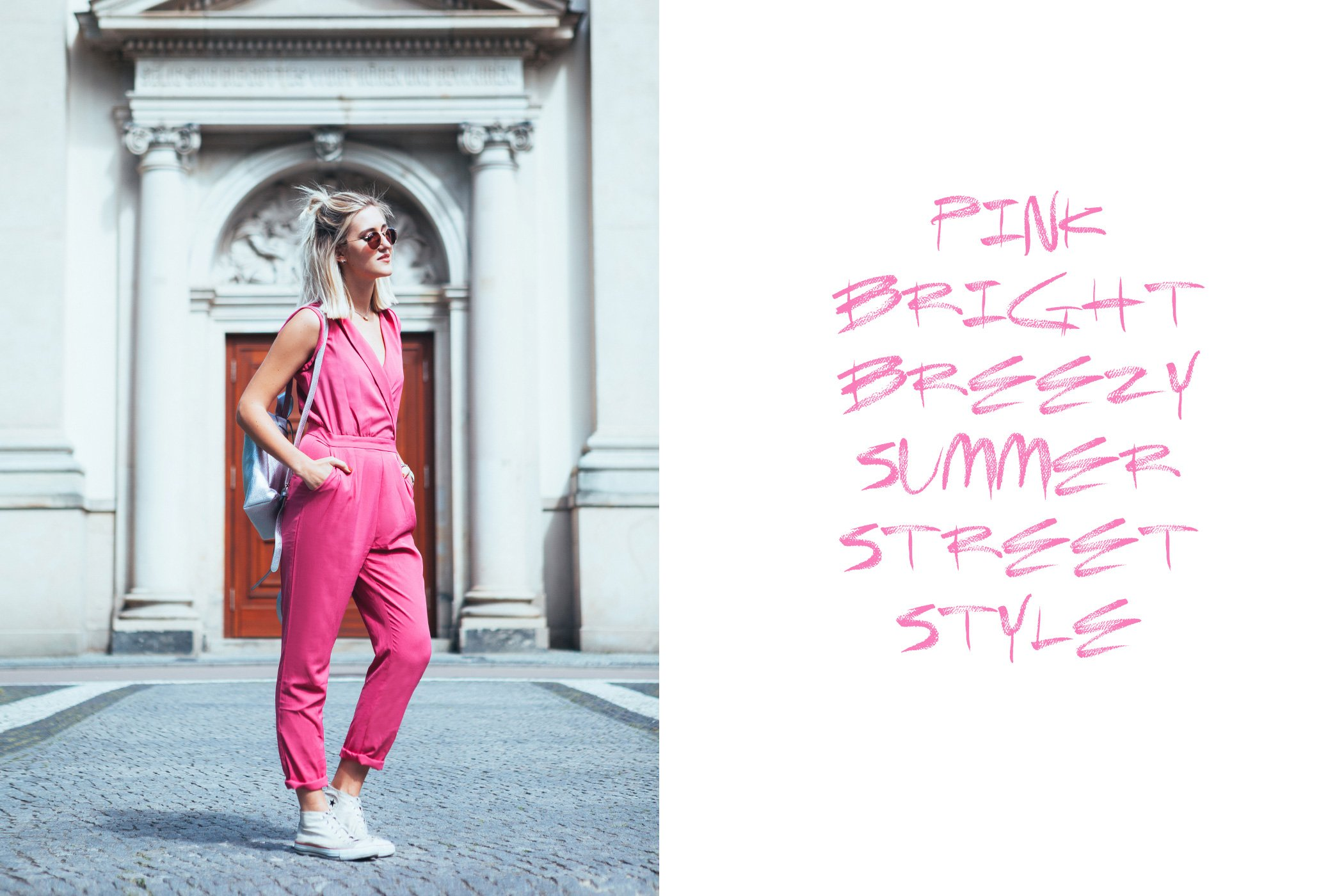 mikuta in pink bright breezy summer street style jumpsuit